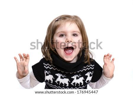 Shouting little girl - stock photo