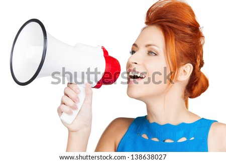 shouting woman with megaphone - stock photo