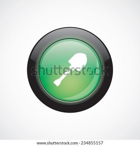 shovel glass sign icon green shiny button. ui website button   - stock photo