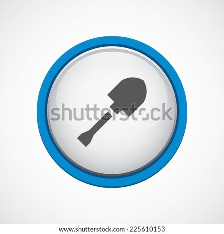 shovel glossy with blue stroke icon, circle, isolated  - stock photo