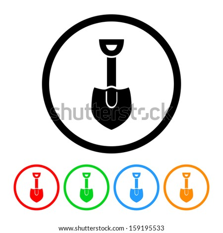 Shovel Icon with Color Variations. Raster version. - stock photo