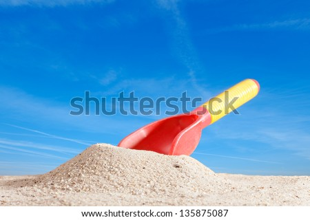 shovel on the beach - stock photo