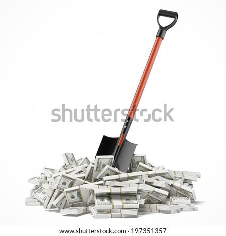 Shovel up dollars - stock photo