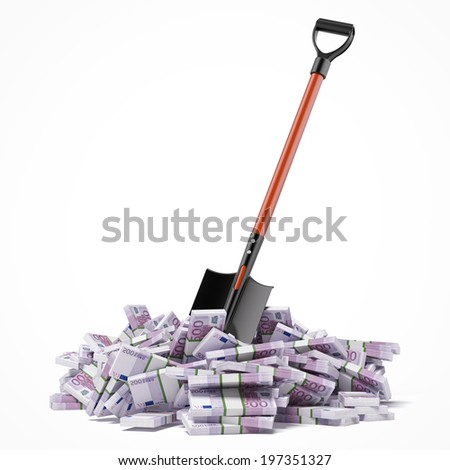 Shovel up euro bills - stock photo