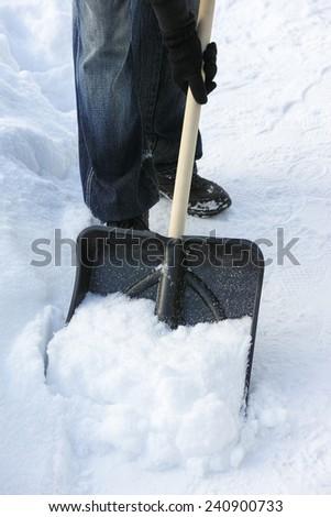 Shoveling snow. - stock photo