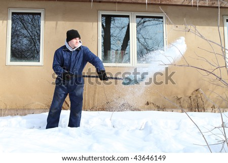 Shoveling snow - stock photo
