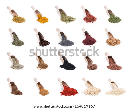 Shovels of Spices and Herbs  - stock photo
