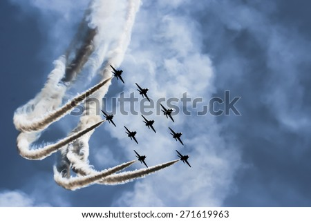 Show of force jets  - stock photo