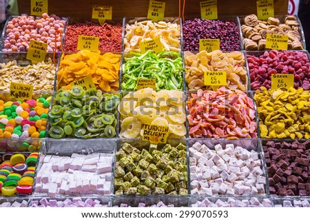 Show-window with east sweets and dried fruit, the Grand Bazaar, Istanbul - stock photo