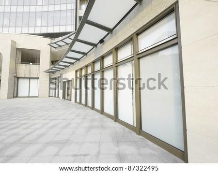 Showcase and long walkway - stock photo