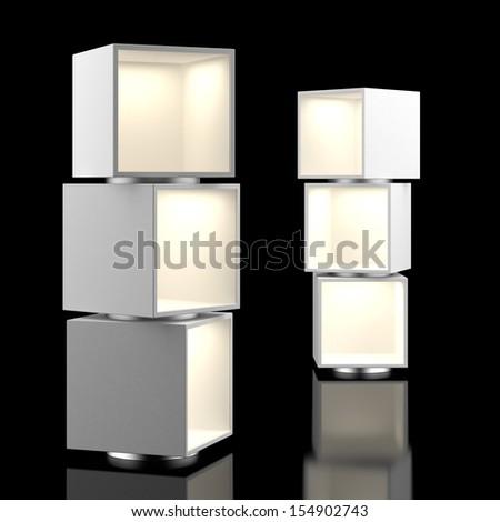Showcase isolated on black - stock photo