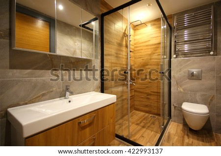 Shower Cabin at the Modern Bathroom  - stock photo