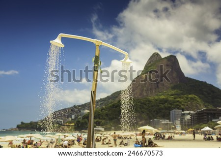Shower on the Beach of Ipanema in Rio de Janeiro,Brazil - stock photo
