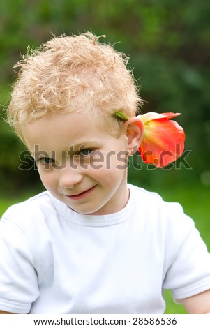 Showing a flower - stock photo