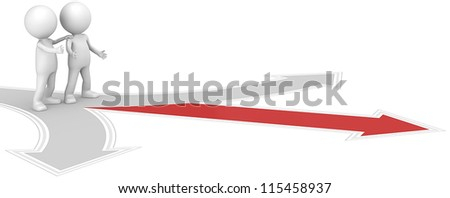 Showing the way. 3D little human character X2 at a Crossroad. One Red. People series. - stock photo