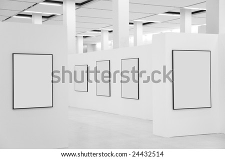 Showroom wall with frames - stock photo