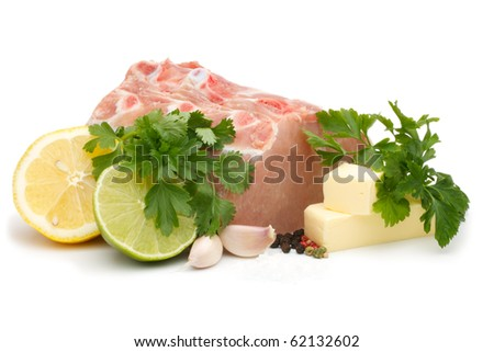 Shows a set of cooking pork chops, marinated in lime and lemon. Isolated on a white background. - stock photo