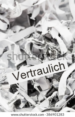 shredded paper keywords confidential - stock photo