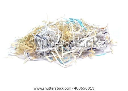 shredded paper on white background - stock photo