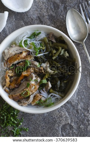Shredded roast duck with cabbage and rice noodles - stock photo