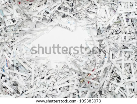 Shredded white paper for recycling with blank copy space - stock photo
