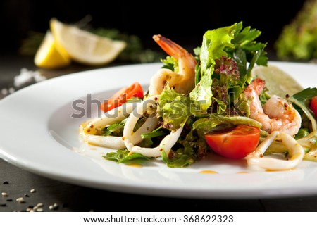 Shrimp and Calamari Salad - stock photo