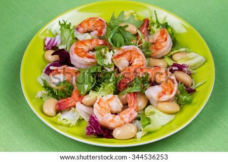 Shrimp and white bean salad - stock photo