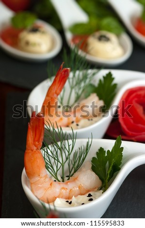 Shrimp appetizers during a party - stock photo