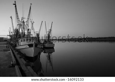 shrimp boat Black white - stock photo