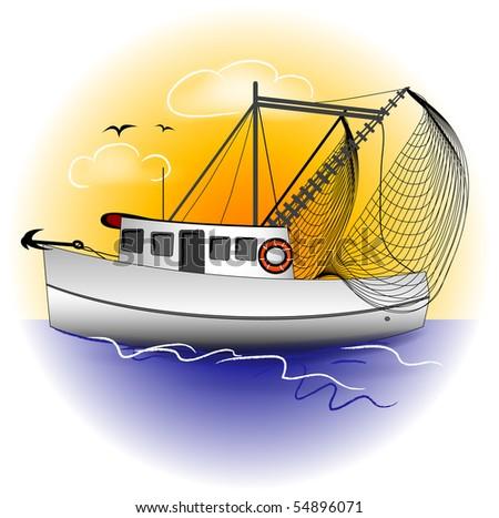 Shrimp Boat Graphic - stock photo