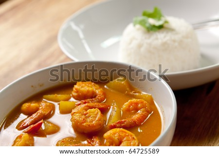 shrimp curry with rice,thai food. - stock photo