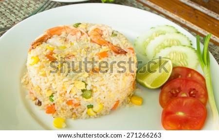 Shrimp Fried Rice, thai food - stock photo