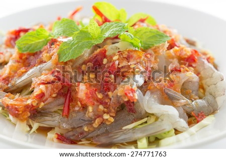 shrimp in fish sauce,hot and spicy,seafood thailand - stock photo