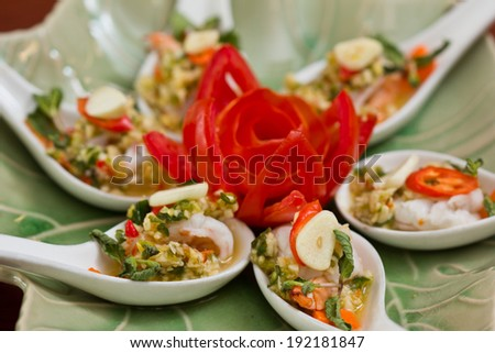 shrimp in fish sauce,hot and spicy shrimp in fish sauce,hot and spicy  - stock photo