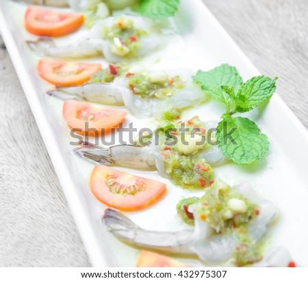shrimp in fish sauce, Thai food, made of fresh shrimp and spicy sauce - stock photo