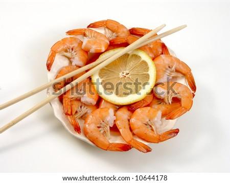 shrimp on the white - stock photo
