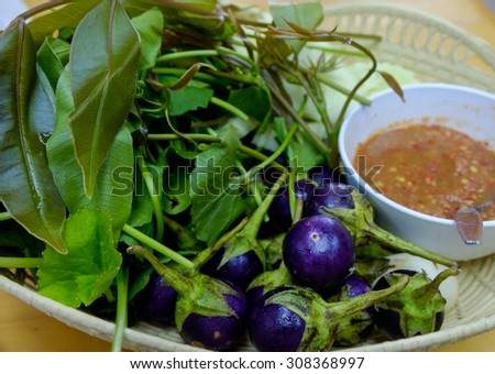 shrimp paste chilli sauce with purple eggplant and vegetable - stock photo