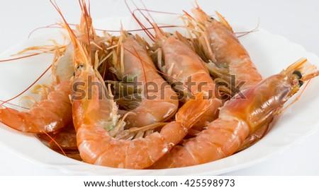 shrimp / prawns in a white plate / fresh shrimp on white plate in white background - stock photo