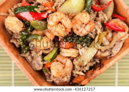 Shrimp rice dish - stock photo