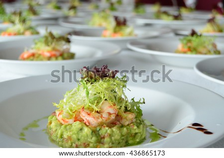 Shrimp salads ready to be served during a catering - stock photo