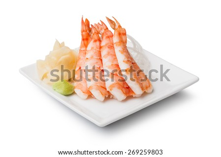 shrimp sashimi with withe plate isolated on white background - stock photo