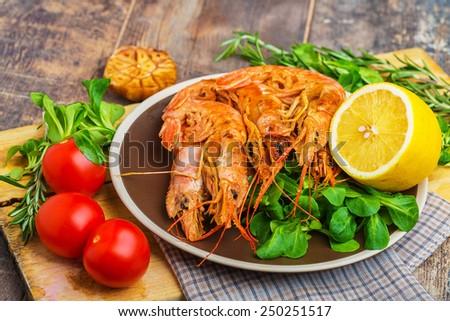 Shrimp Sea Food on wooden table - stock photo