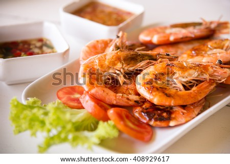 Shrimp seafood and spicy sauce,selective focus - stock photo
