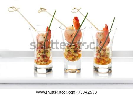 shrimp, seafood, chocolate, onions, glass, fruit, delicatessen, restaurant - stock photo