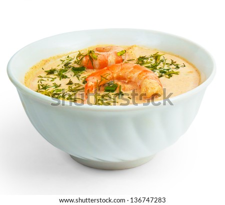 shrimp soup dill bowl isolated on white background - stock photo