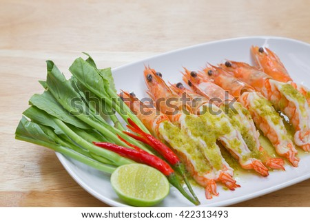 shrimp steam with spicy lime sauce. delicious menu for meal time - stock photo