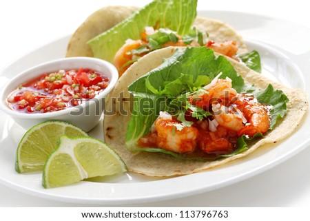 shrimp tacos, tacos de camarones, mexican cuisine - stock photo