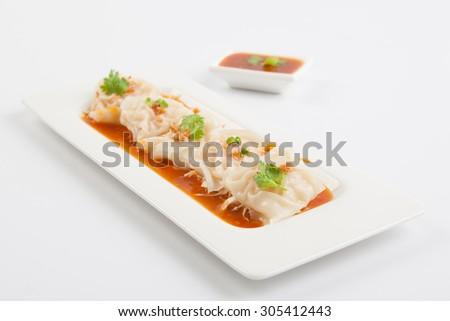 shrimp wonton on white plate - stock photo