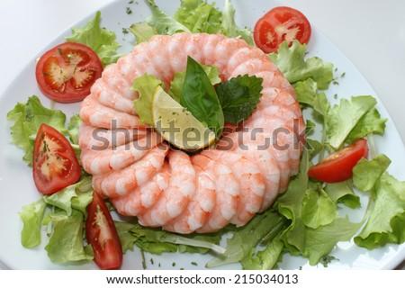 shrimps fresh and frozen - stock photo