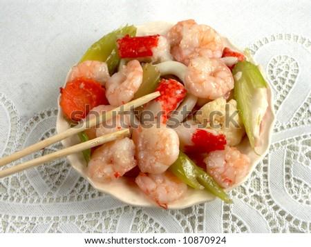 shrimps on the white - stock photo